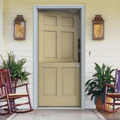 Dutch Hemlock 6-Panel Unfinished Wood Prehung Front Door with Primed White AuraLast Jamb and Brickmold