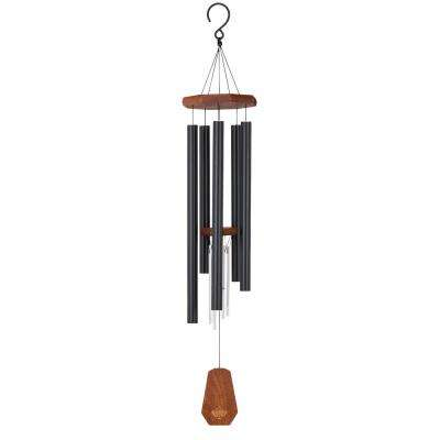 Precision-Tuned Echo 40 in. Aluminum and Steel Double Wind Chime - Black