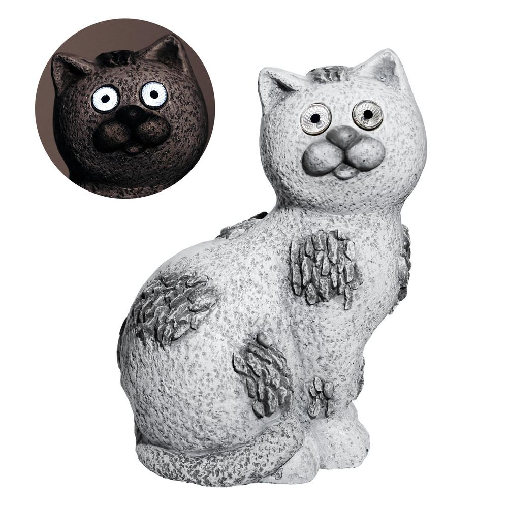 14 in. Tall Solar Cat Garden Statue w/White LED Light and