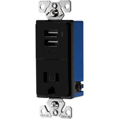 15 Amp Decorator USB Charger With Electrical Outlet, Black