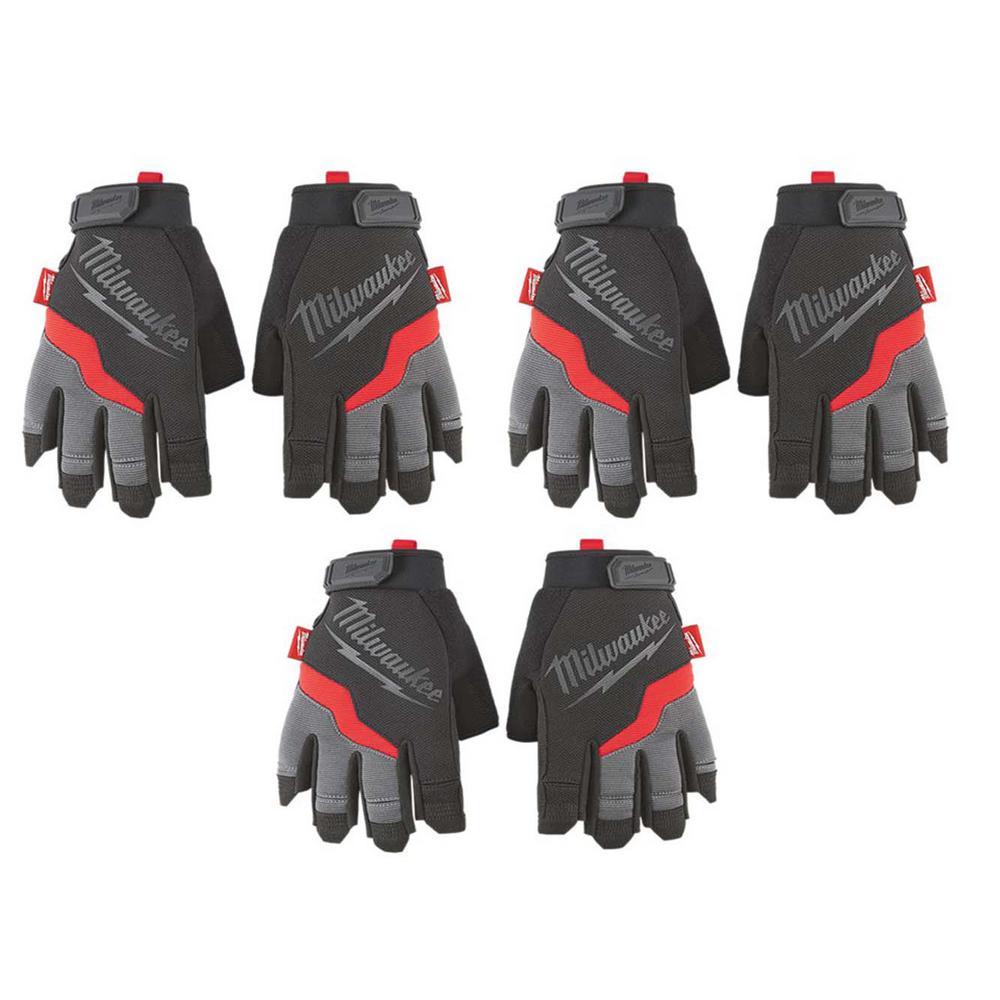 Medium Fingerless Work Gloves (3-Pack)
