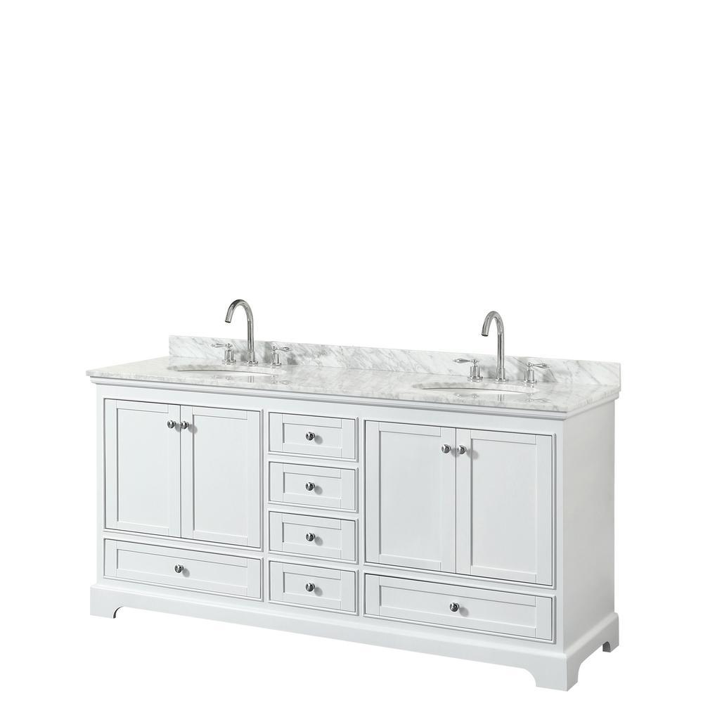 Deborah 72 in. Double Bathroom Vanity in White with Marble Vanity Top in White Carrara with White Basins