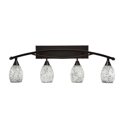 4-Light 37.75 in. Black Copper Vanity Light with 5 in. Black Fusion Glass