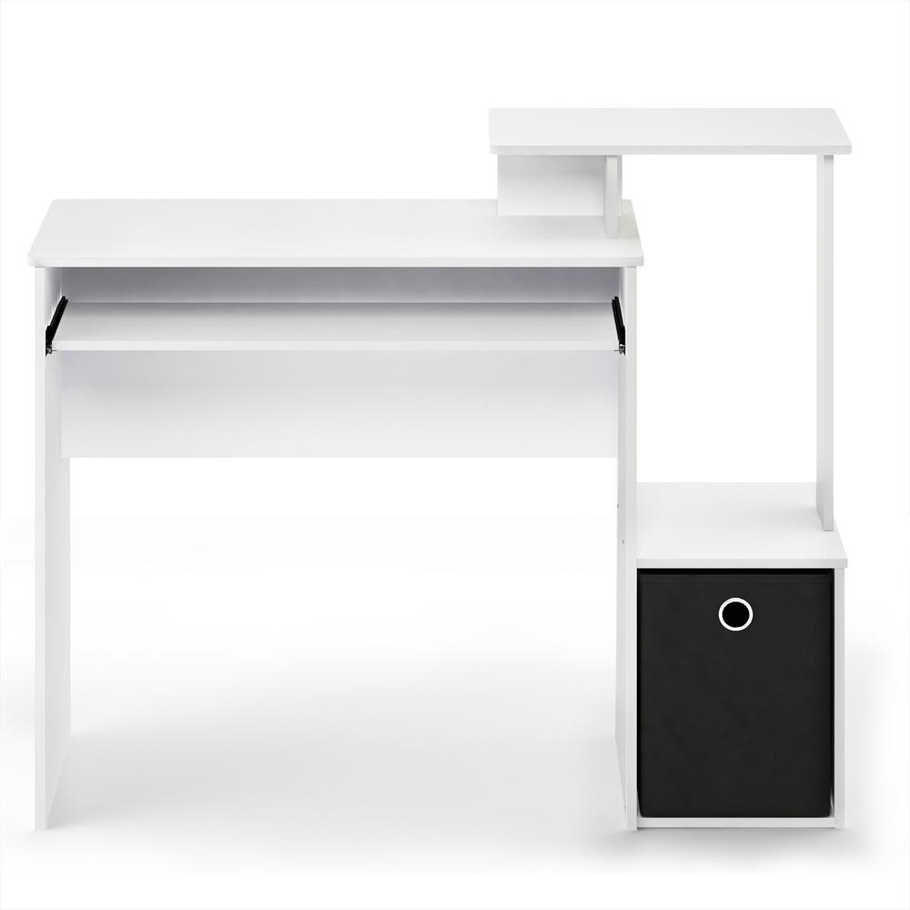 Econ White/Black Multipurpose Home Office Computer Writing Desk with Bin