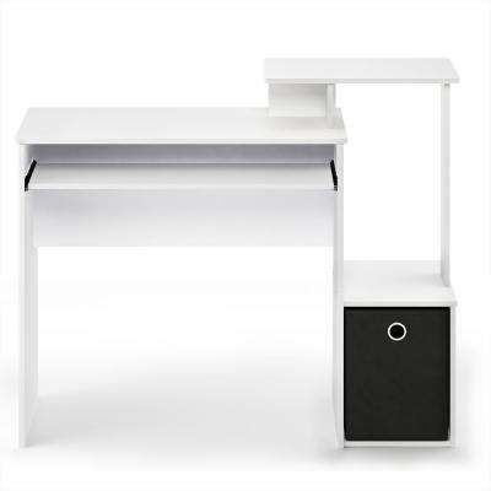 Econ White/Black Multipurpose Home Office Computer Writing Desk with Bin