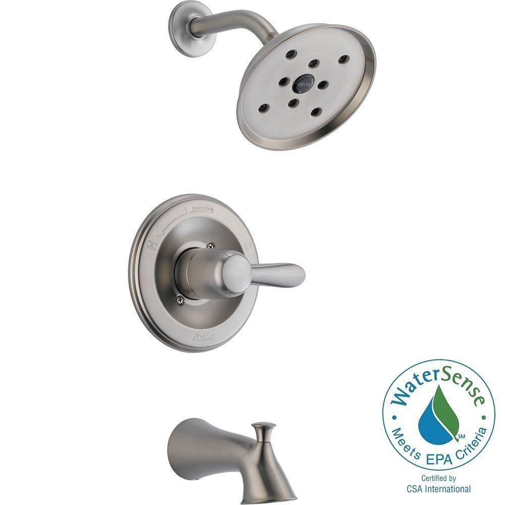 Delta Lahara H2Okinetic Single-Handle 1-Spray Tub and Shower Faucet in Brushed Nickel (Valve Included)