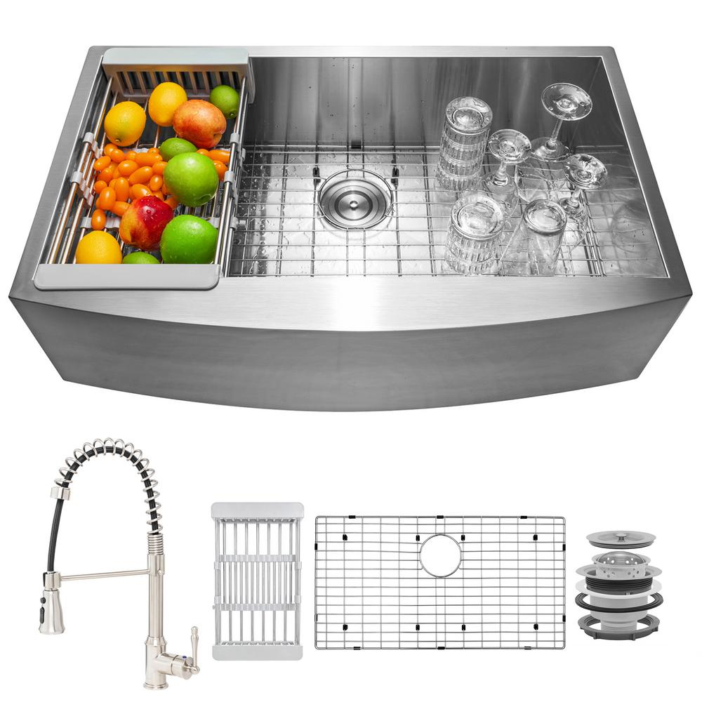 AKDY Handmade All-in-One Farmhouse Stainless Steel 33 in. x 22 in. Single Bowl Kitchen Sink Spring Neck Faucet, Accessories, Brushed Stainless Steel was $610.0 now $419.99 (31.0% off)