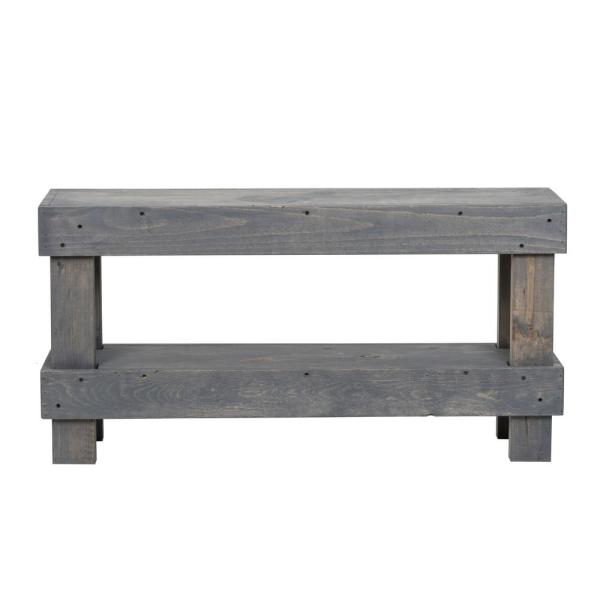 Gray Rustic Contemporary Farmhouse Solid Wood Bench Small