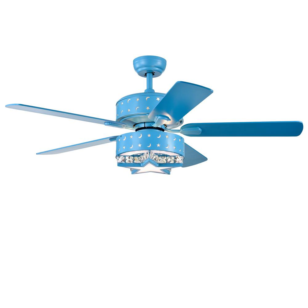 Warehouse of Tiffany Funder 52 in. Indoor Star Blue Remote Controlled Ceiling Fan with Light Kit