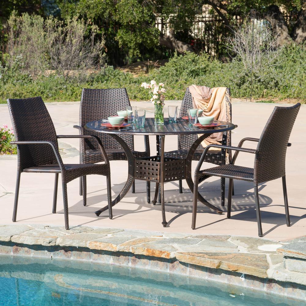 Libson Bronze 5-Piece Wicker Outdoor Dining Set