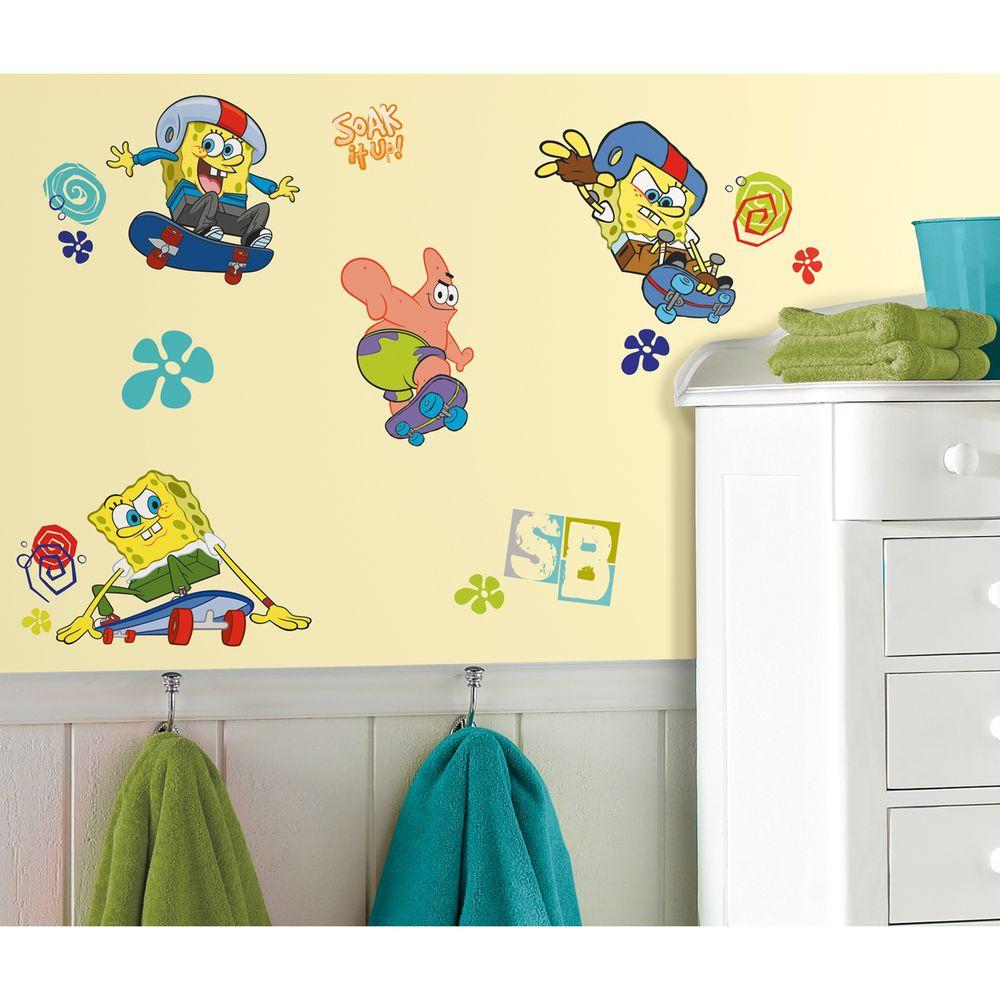RoomMates Spongebob Skaters Peel and Stick Wall Decal-RMK1838SCS ...