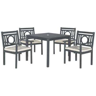 Montclair Ash Gray 5-Piece Patio Dining Set with Beige Cushions