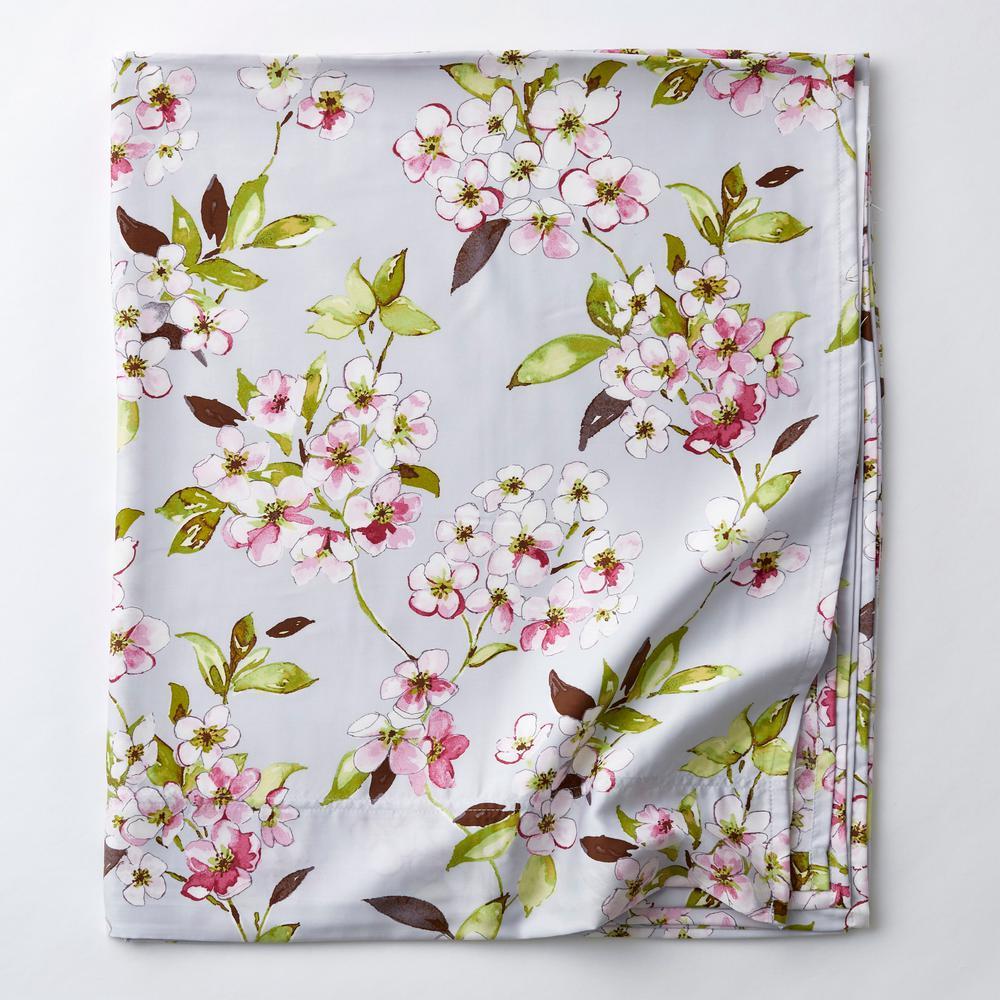 Marietta Multicolored Floral 300 Thread Count Sateen Twin Flat Sheet