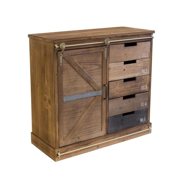 Distressed Antique Barn Wood Fully Embled 5 Drawer And 2 Shelves With Sliding Style Door Accent Cabinet By Os Home Office Furniture