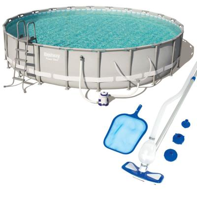 22 x 4.3 ft. Round Metal Frame Pool with Pump and Filter and Cleaning and Maintenance Kit