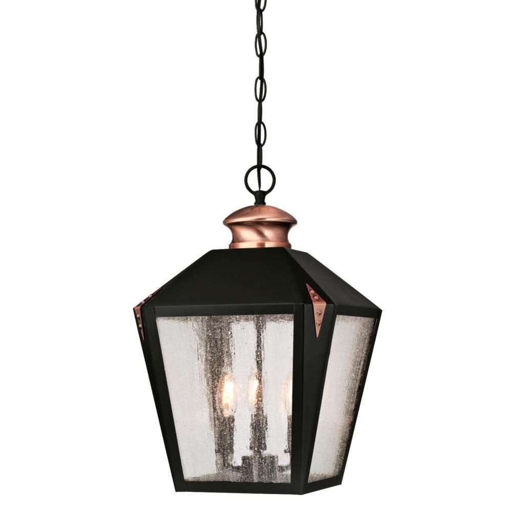 Westinghouse Valley Forge 3 Light Matte Black With Washed Copper Accents Outdoor Hanging Pendant