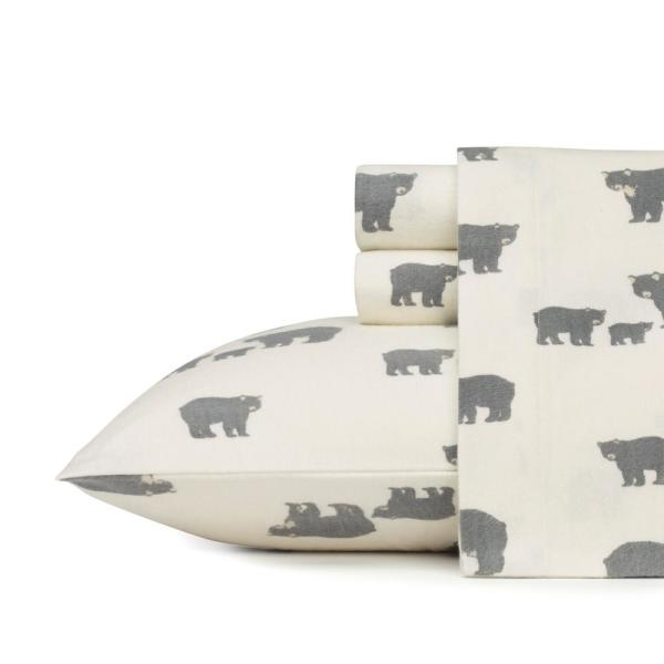 4-Piece Bear Family Gray Graphic Flannel Queen Sheet Set