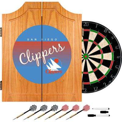 20.5 in. San Diego Clippers Hardwood Classics NBA Wood Dart Cabinet Set