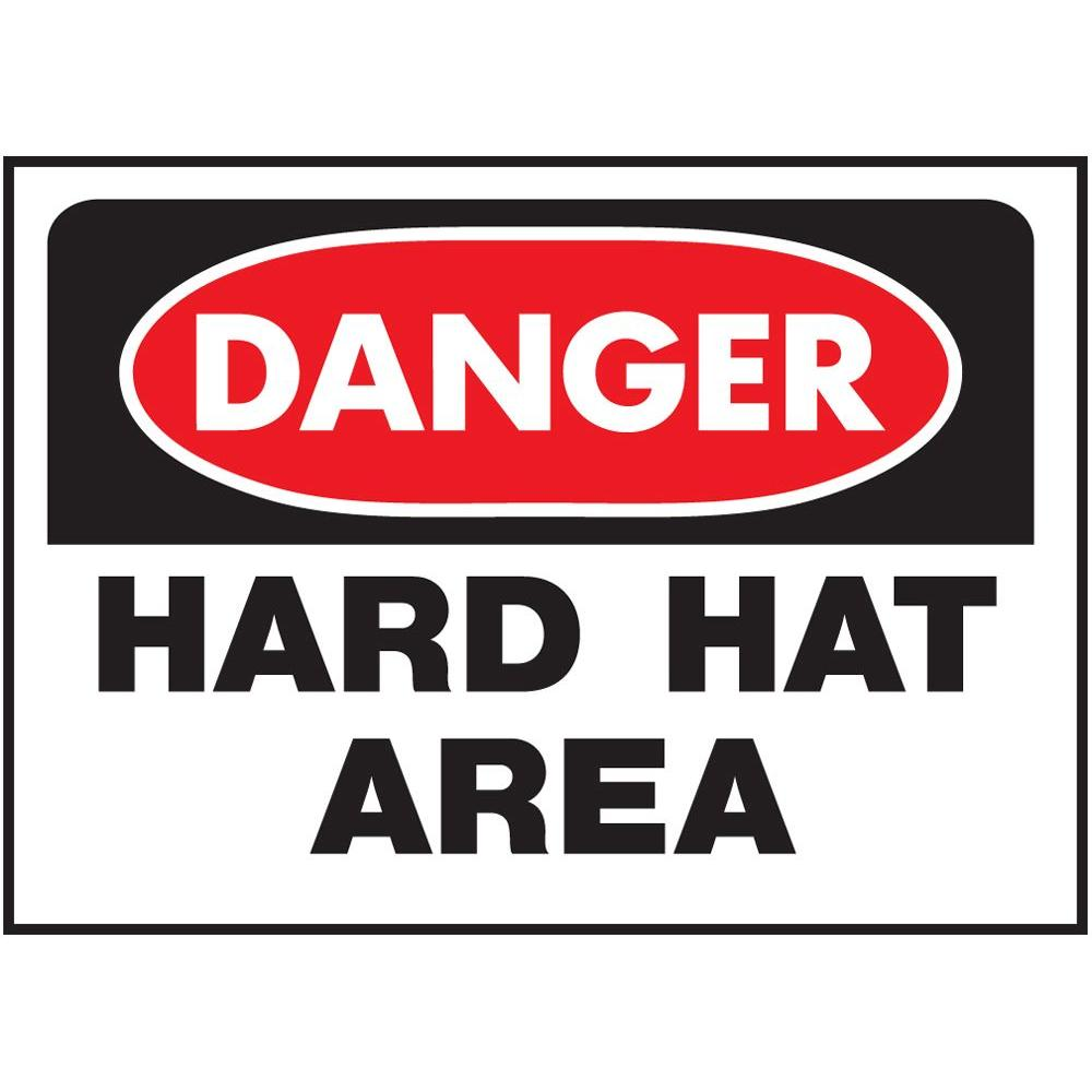 HY-KO 10 in. x 14 in. Plastic Danger Hard Hat Area Occupational Health and Safety Act Sign