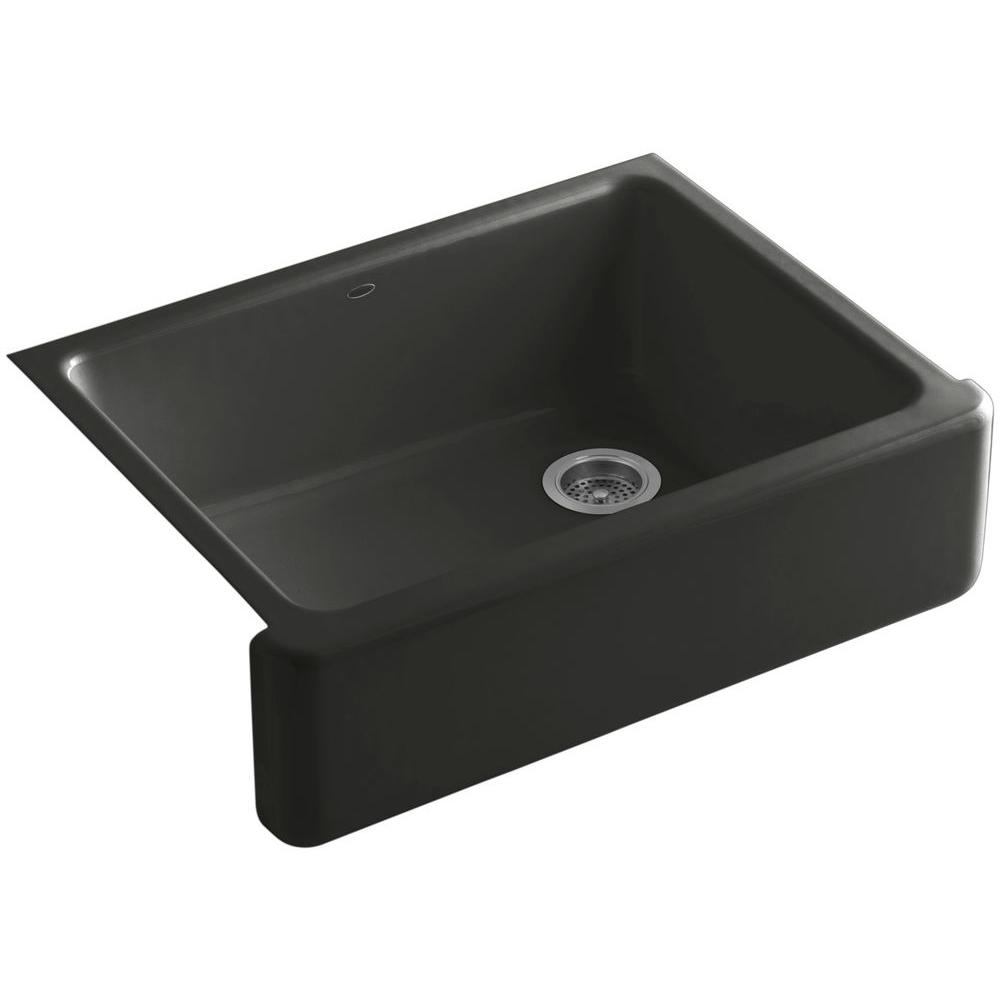 KOHLER Whitehaven Undermount Farmhouse Apron-Front Cast Iron 30 in. Single Basin Kitchen Sink in Caviar