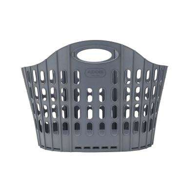 Gray Collapsible Plastic 38 Gallon Laundry Basket