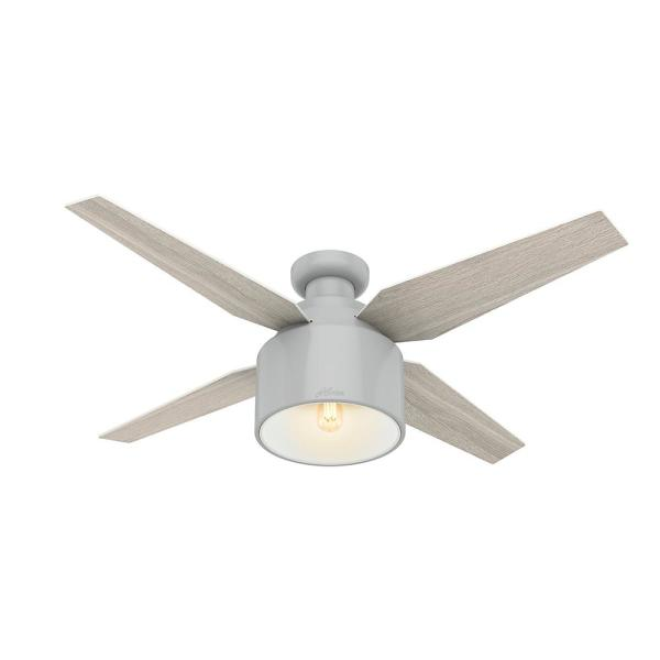 Hunter Cranbrook 52 In Led Low Profile Indoor Dove Grey Ceiling Fan With Light Kit And Remote Control 50264 The Home Depot