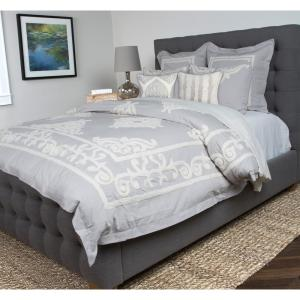 Patrina Fog Gray Embroidery Cotton King Duvet Cover by