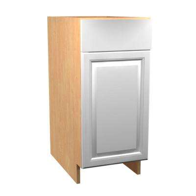 Anzio Ready to Assemble 18 x 34.5 x 24 in. Base Cabinet with 1 Soft Close Door and 1 Soft Close Drawer in Polar White