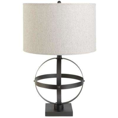 Atlas 20 in. Bronze Table Lamp with Beige Linen Shade, LED Bulb Included