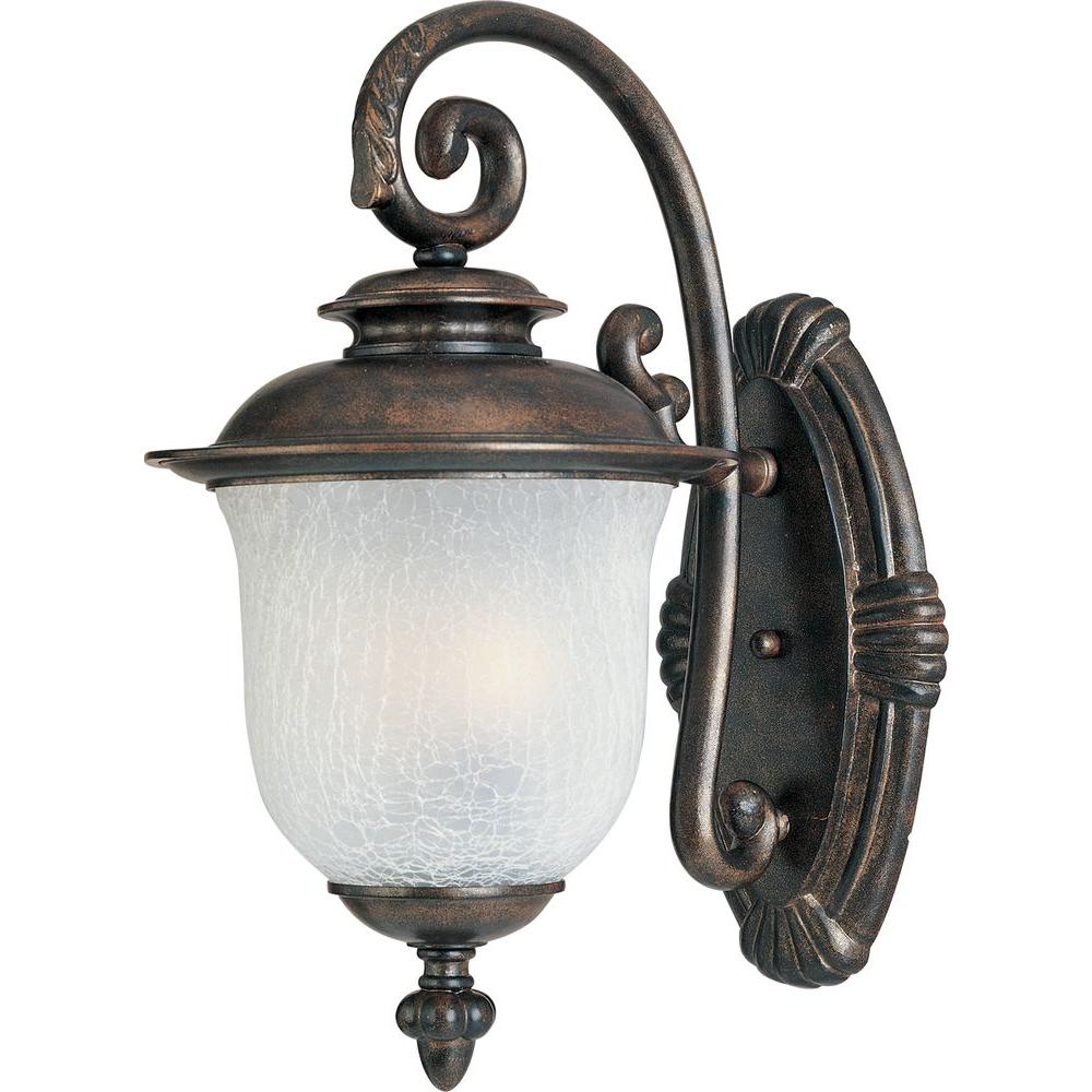 Maxim Lighting Cambria Cast 3-Light Outdoor Wall Lantern Cambria Cast is a transitional style collection from Maxim Lighting International in Chocolate finish with Frost Crackle glass.