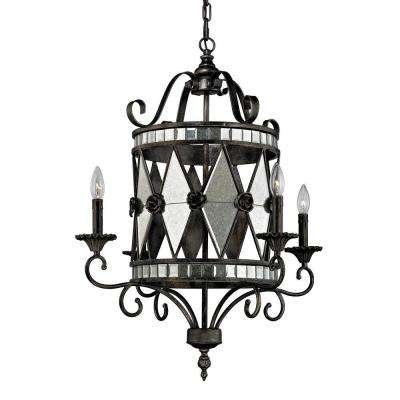 Chrome lantern chandeliers lighting the home depot kvant collection 4 light blackened silver chandelier mozeypictures Choice Image