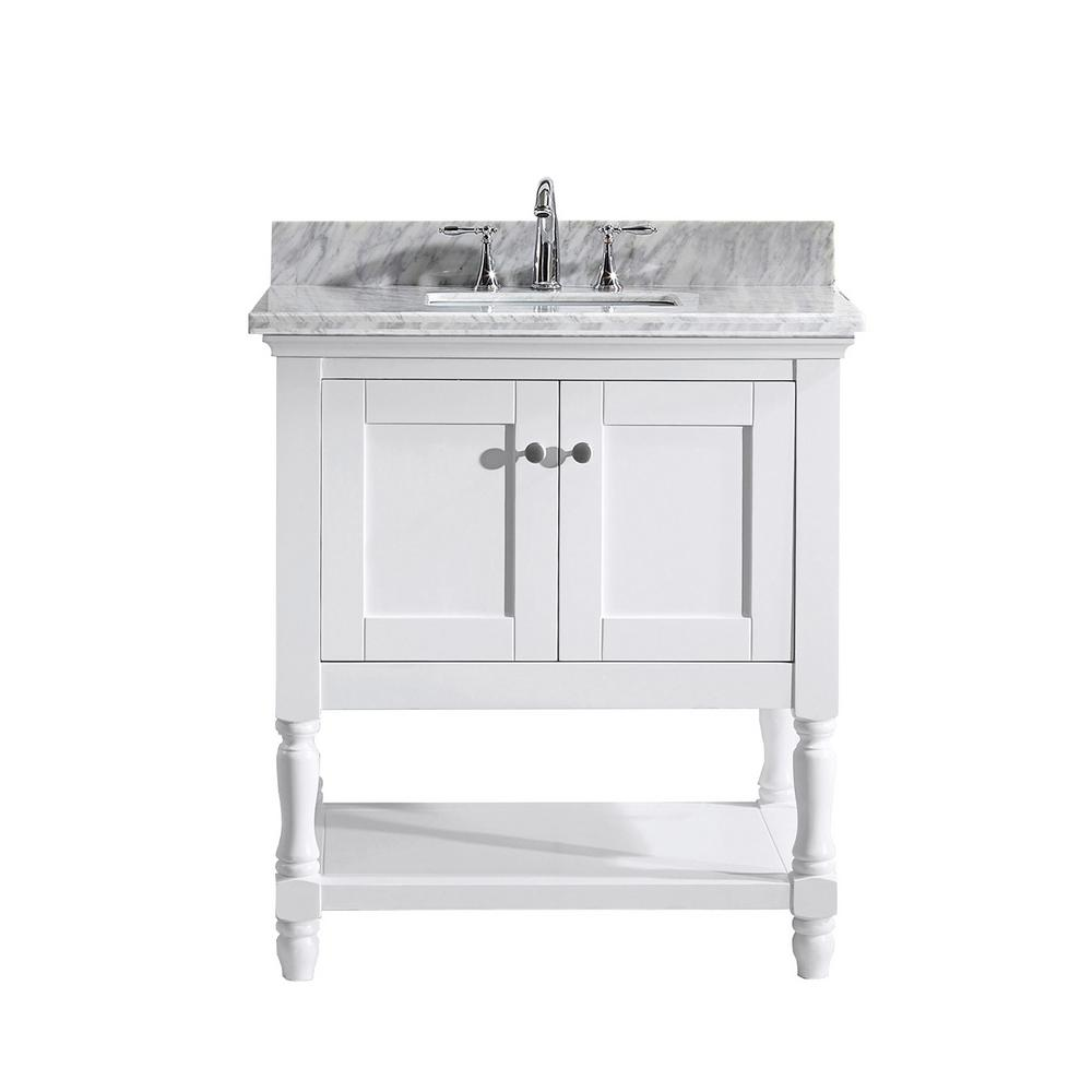 Virtu USA Julianna 32 in. W Bath Vanity in White with Marble Vanity Top in White with Square Basin