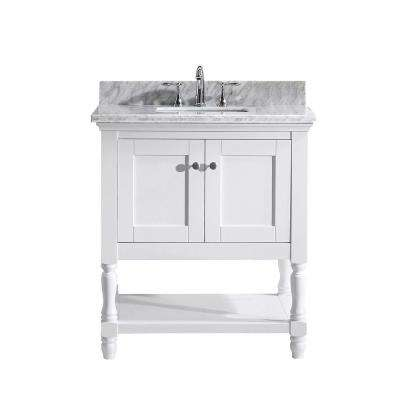 Julianna 32 in. W Bath Vanity in White with Marble Vanity Top in White with Square Basin