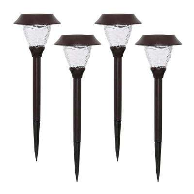 Solar Bronze Outdoor Integrated LED Landscape Path Light (4-Pack)