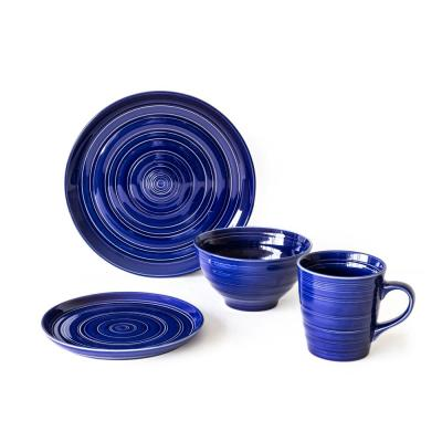 16-Piece Casual Blue Earthenware Dinnerware Set (Service for 4)