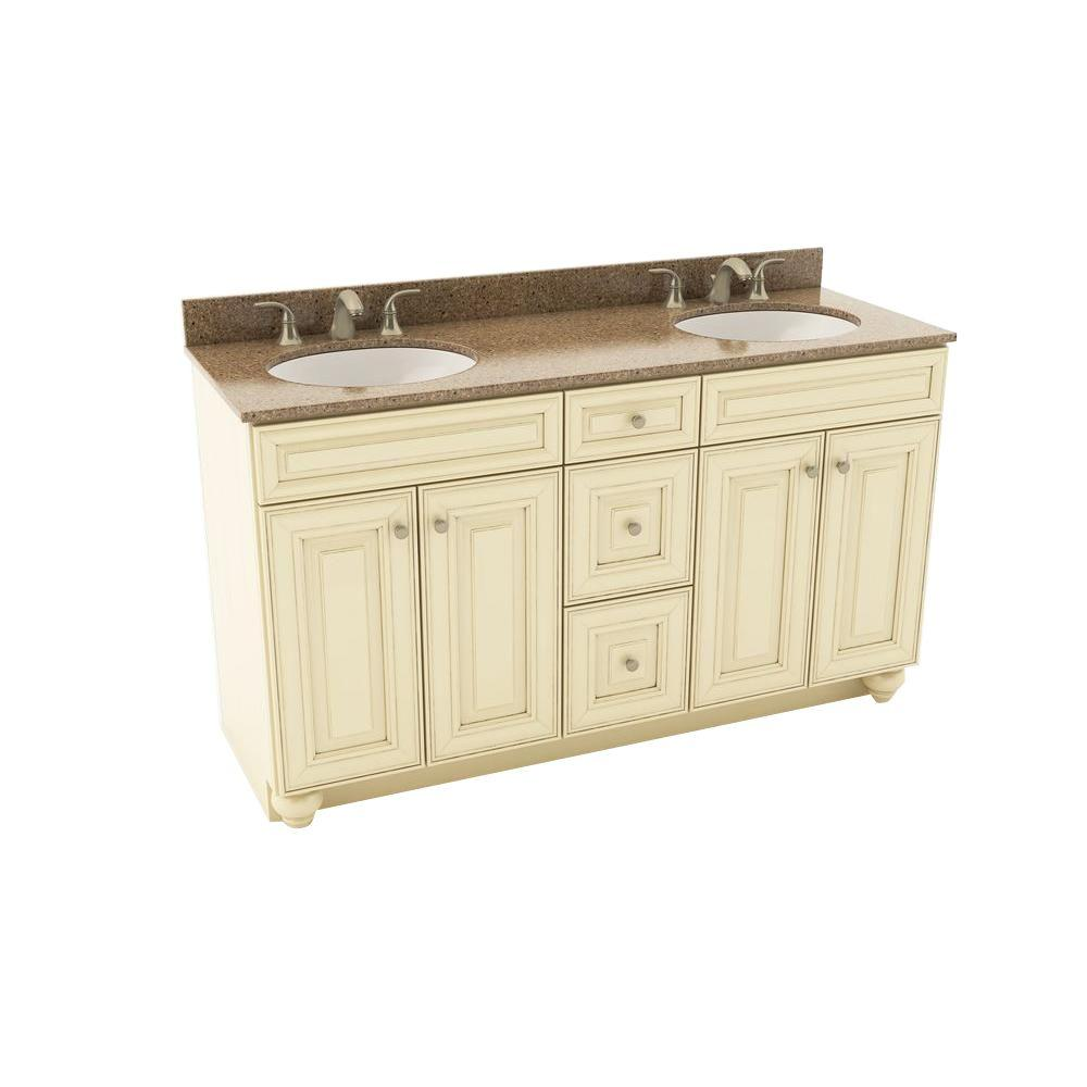 American woodmark savannah 61 in vanity in hazelnut with for Silestone sink reviews