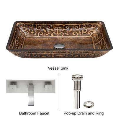 Rectangular Glass Vessel Sink in Golden Greek with Wall-Mount Faucet Set in Brushed Nickel