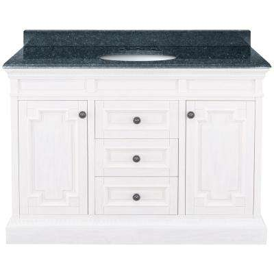 Cailla 49 in. W x 22 in. D Bath Vanity in White with Granite Vanity Top in Blue Pearl with White Sink