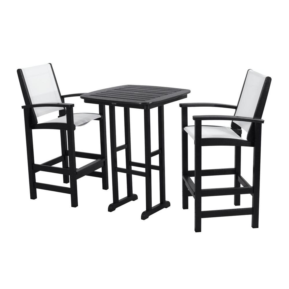 POLYWOOD Coastal Black All Weather Plastic Outdoor Bar Set In White Slings
