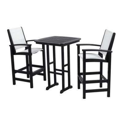 Coastal Black All-Weather Plastic Outdoor Bar Set in White Slings