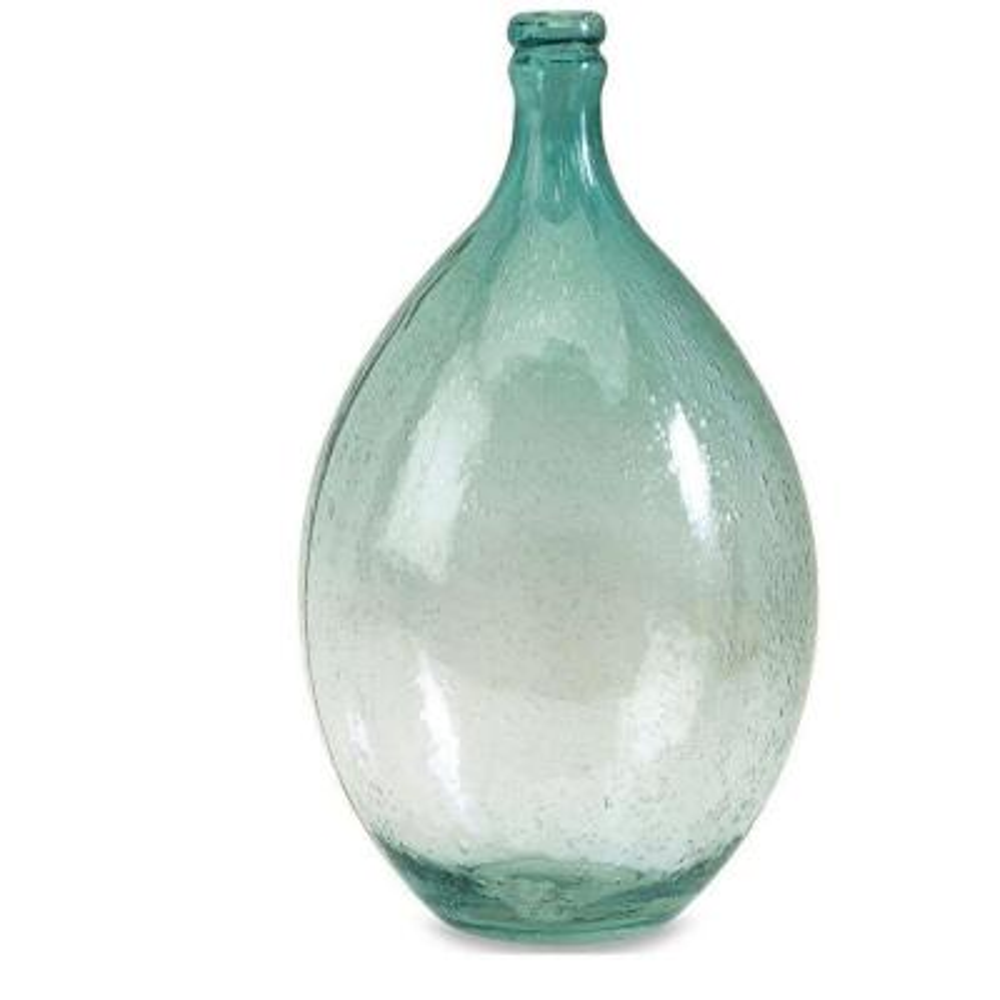 Amadour 13.5 in. H Bubble Glass Bottle Decorative Sculpture in Blue