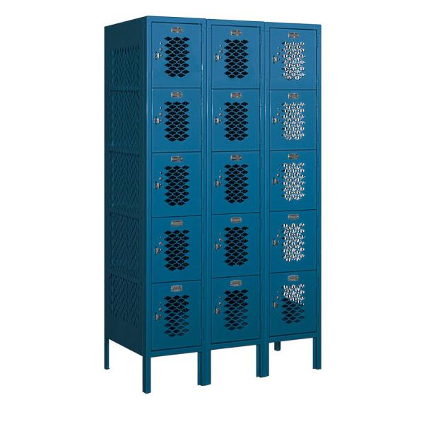 75000 Series 15 Compartments Five Tier 36 In. W x 66 In. H x 18 In. D Vented Metal Locker Assembled in Blue