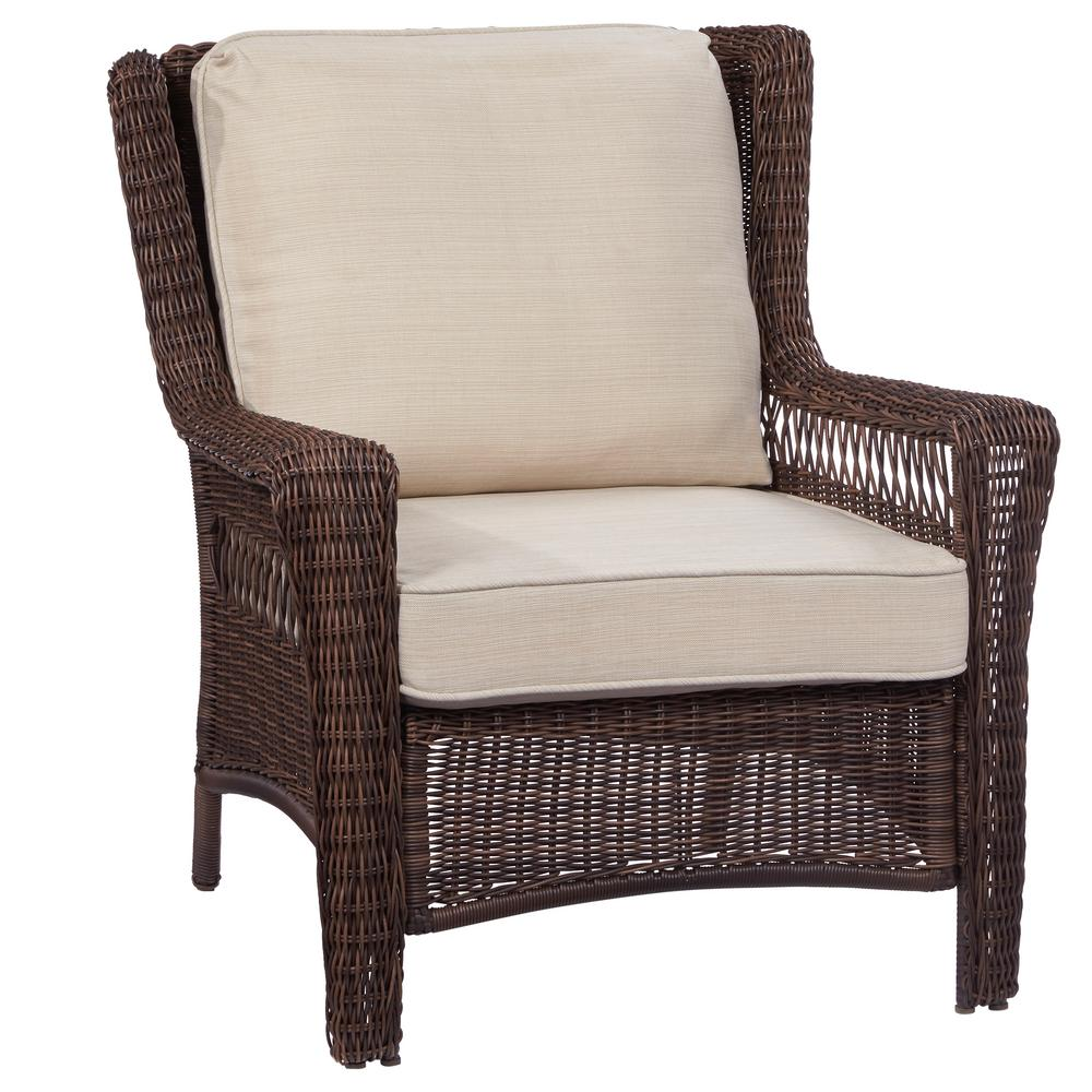 Super Hampton Bay Park Meadows Brown Stationary Wicker Outdoor Lounge Chair With Beige Cushion Bralicious Painted Fabric Chair Ideas Braliciousco
