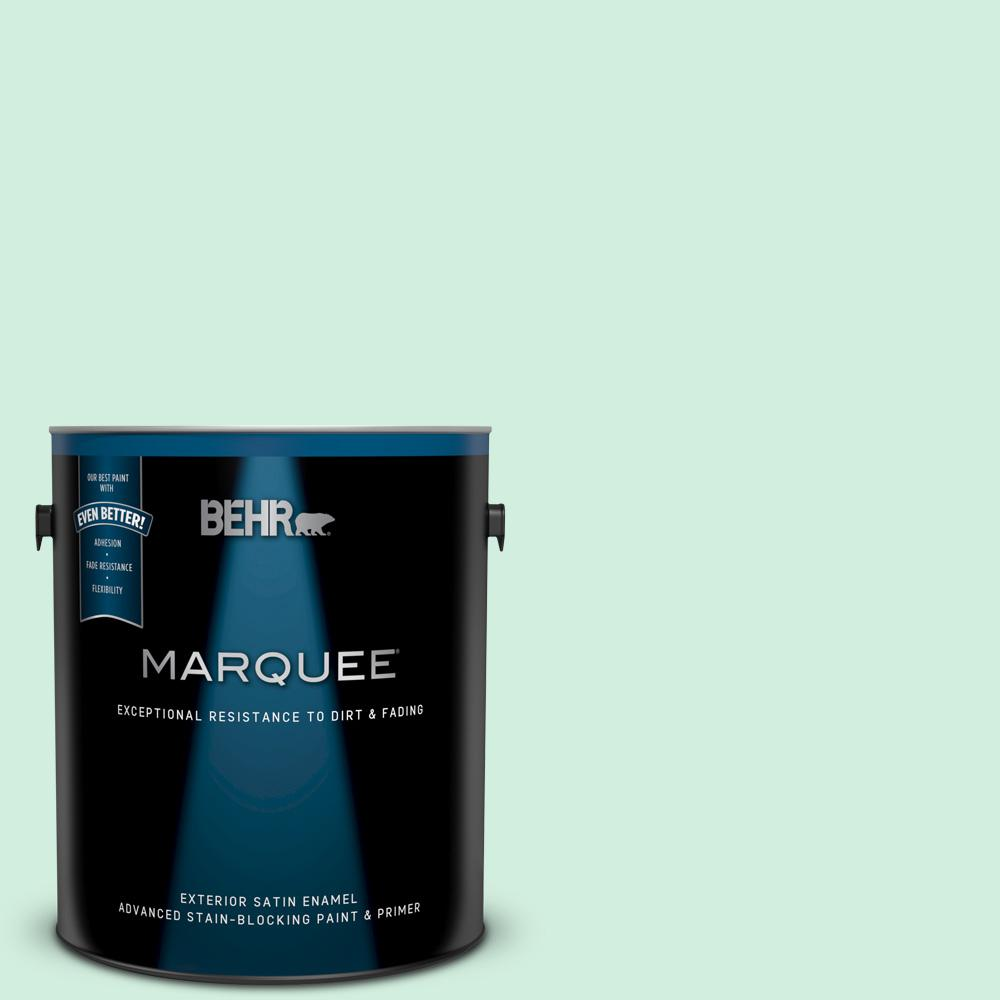 Behr Marquee 1 Gal 480c 2 Pastel Jade Satin Enamel Exterior Paint And Primer In One 945001 The Home Depot