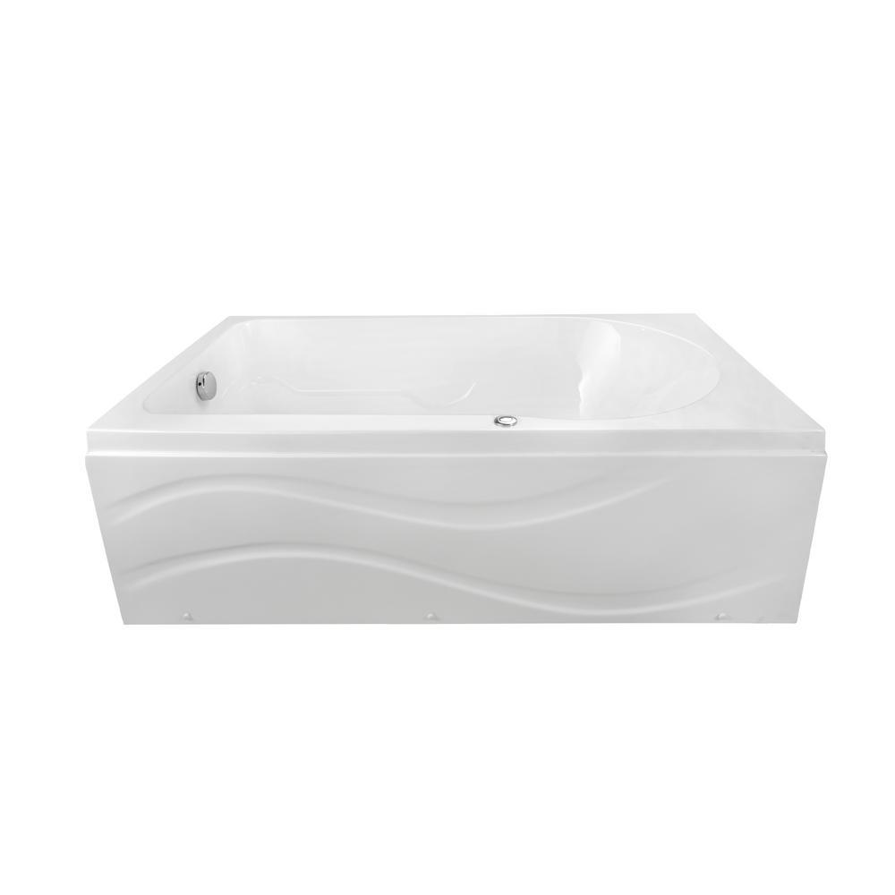 Solo 60 in. x 30 in. Acrylic Left Drain Rectangular Alcove Infusion Microbubble Air Bath Bathtub in White