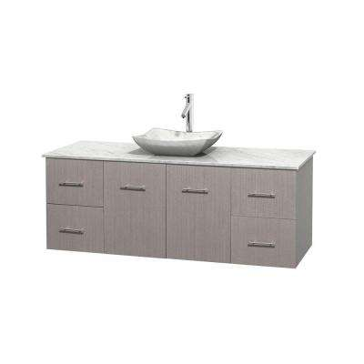 Centra 60 in. Vanity in Gray Oak with Marble Vanity Top in Carrara White and Sink