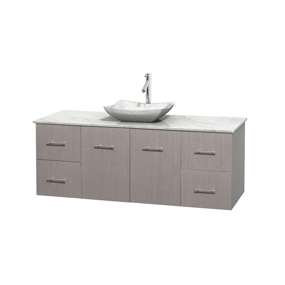 Wyndham Collection Centra 60 in. Vanity in Gray Oak with Marble Vanity Top in Carrara White and Sink