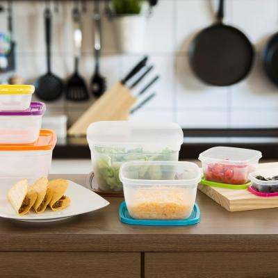 Square Food Storage Set with Colored Lids (14-Piece)