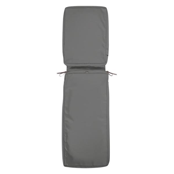 Montlake FadeSafe 72 in. L x 21 in. W x 3 in. H Patio Chaise Lounge Cushion Slip Cover in Light Charcoal Grey