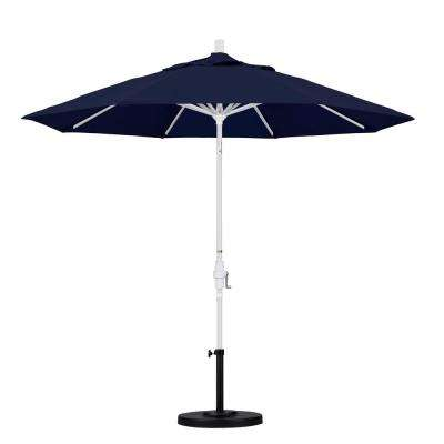 9 ft. Aluminum Collar Tilt Patio Umbrella in Navy Blue Olefin